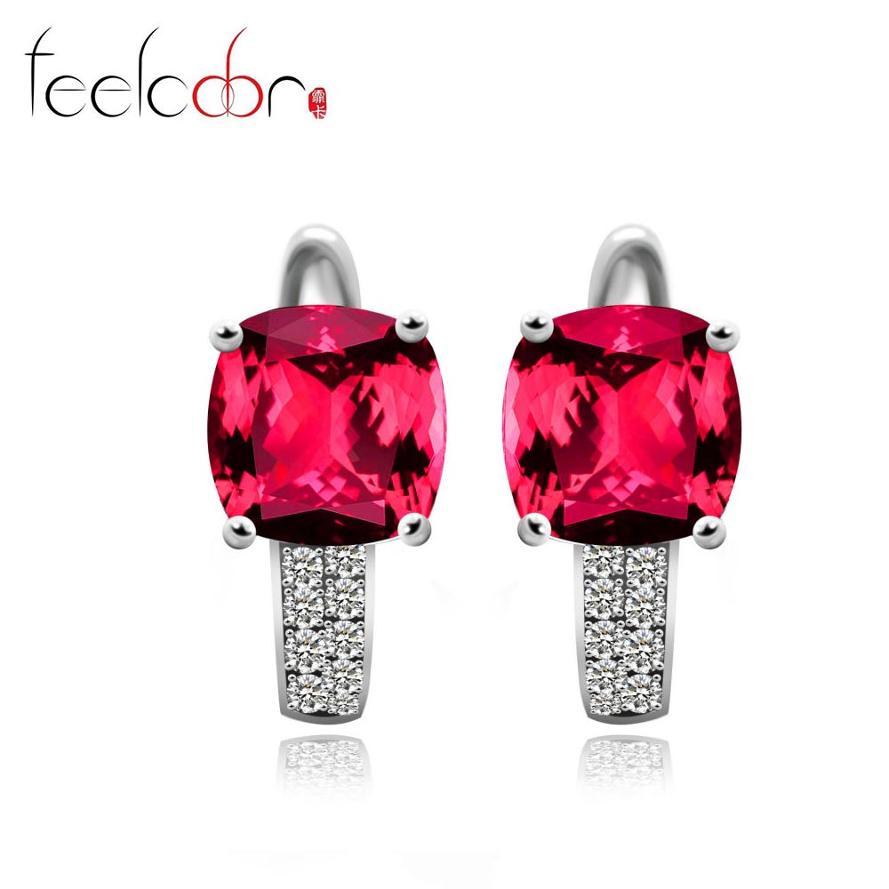 Pigeon Blood Red Ruby Engagement Wedding Earrings Clip Solid 925 Sterling Solid Silver Square Cut Amazing<br><br>Aliexpress