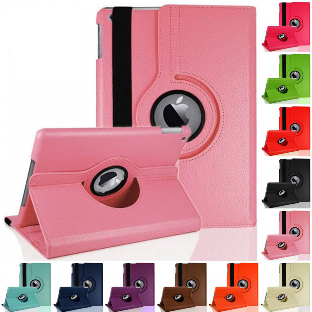 2pcs/lot!360 Rotating Flip Stand Case Leather Cover Apple iPad 2 3 4 Protective Skin Cases iPad 2 tablet bags