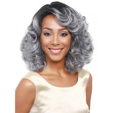 2016 New 42cm Curly Natural Hair Wigs for Women wig short Hairstyle Handmade Good Quality Hair Synthetic Wigs Silver gray color(China (Mainland))