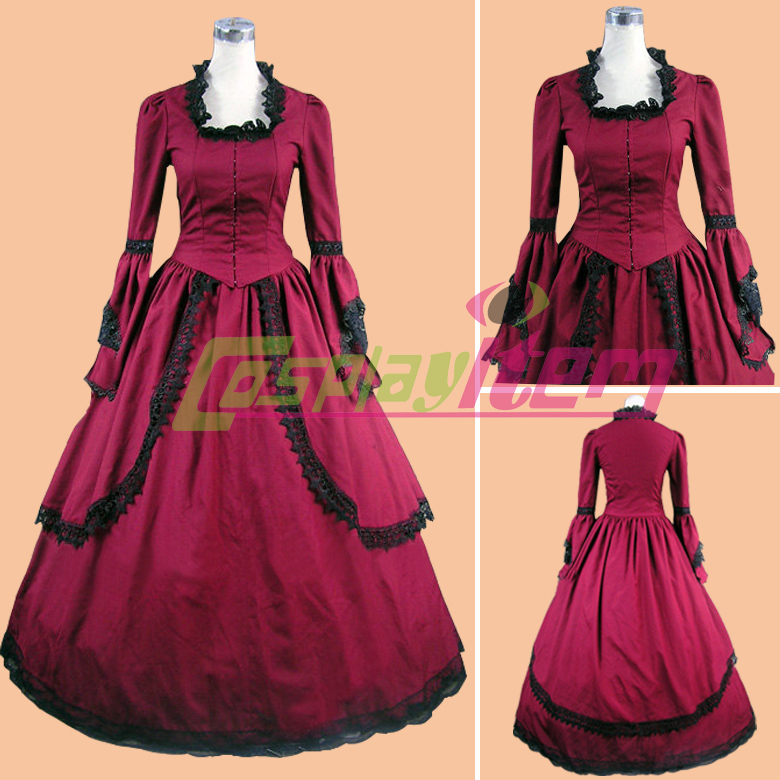 Custom made Gothic red dress Southern Ball Gown costume Civil War belle victorian Medieval party - Cosplayitem COS store