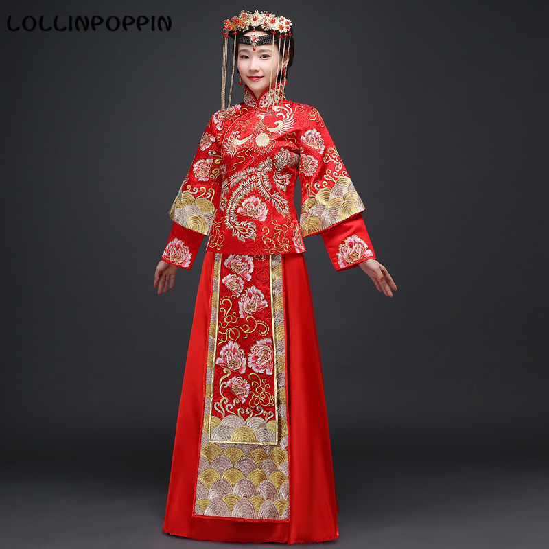 Women Chinese Traditional Wedding Skirt Suit Floral & Phoenix Embroidery Bride Costumes (Top + Skirt) Free Shipping