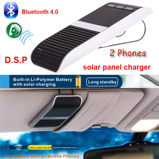 Wireless Bluetooth 4.0 Handsfree Car Kit Speakerphone Solar Powered Charger 10m Distance Hands Free Car Support 2 Phones Speaker(China (Mainland))