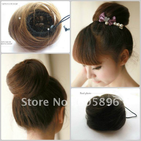 Free shipping-100% human hair bun naural black/light brown/dark brown girls' human hair chignon 35g-HOT(China (Mainland))