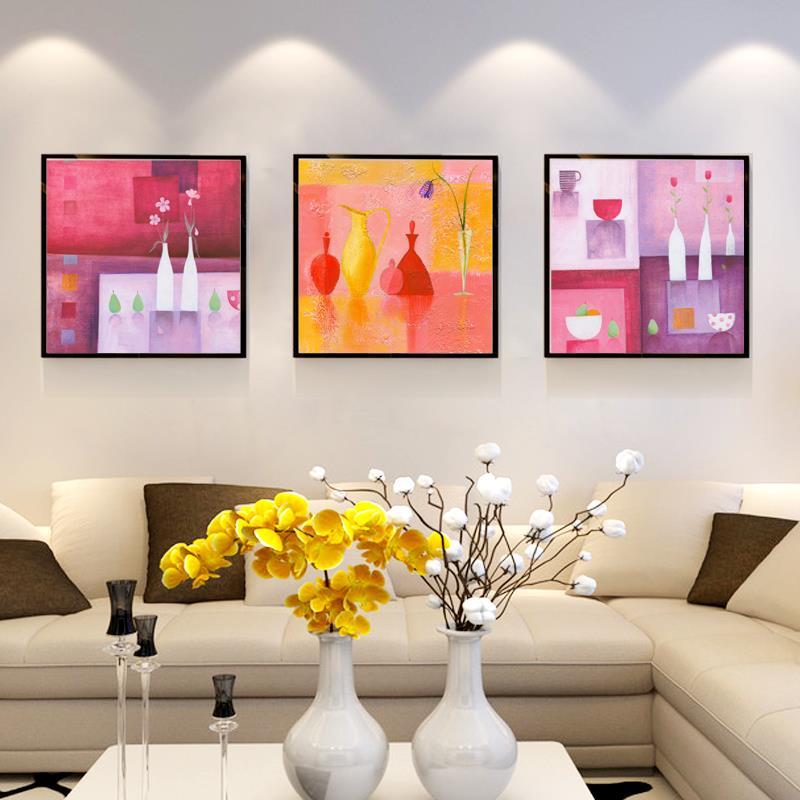 3 UNIDS/1 Unidades Tazas de Frutas Abstracto Moderno Colorido de Flores Florero Pintura Mural Pintura de la Lona Wall Art Decor Imagen regalo(China (Mainland))