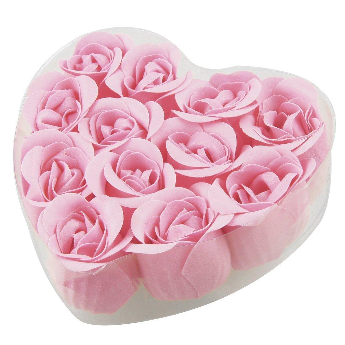 WSFS Hot Sale 12 Pcs Bathing Pink Rose Bud Flower Petal Soap + Heart Shape Box(China (Mainland))