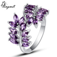 lingmei Maple Leaf Design Marquise Amethyst Purple Unisex Jewelry  Silver Ring Size 6 7 8 9 10 New Gift Free Shipping Wholesale