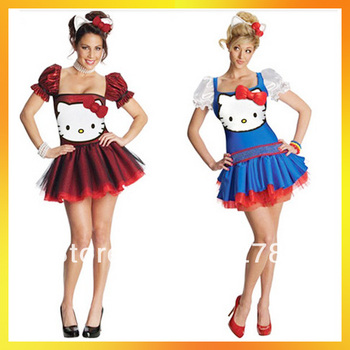 free shipping Blue Red Cute Kitty Shinning Costumes For Ladies 2013 Women Halloween Cosplay Carnival Dress