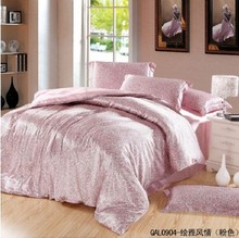 Chinese Imitation Silk Satin Bedding Set Queen/King Size Pink/Blue/Beige Patchwork Duvet Cover/Bed sheet/Pillowcase/Bedclothes(China (Mainland))