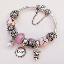2015 Summer 925 Silver Charm Bracelets for Women Beads Fine Jewelry Fit Bracelets Gfits BR026(China (Mainland))
