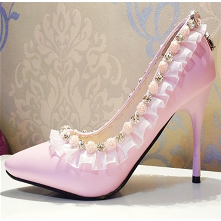 Pink Wedding Dress Shoes : New handmade wedding shoes pink lace flowers pointed