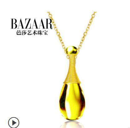 Ba Sally jewelry 925 silver yellow crystal necklace Female pendant gift silver treasure(China (Mainland))