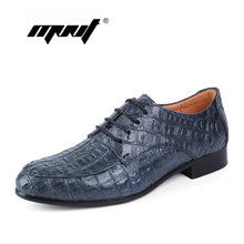 Handmade genuine leather men shoes, Fashion flat shoes, Crocodile business dress shoes,Men oxford zapatos hombre(China (Mainland))