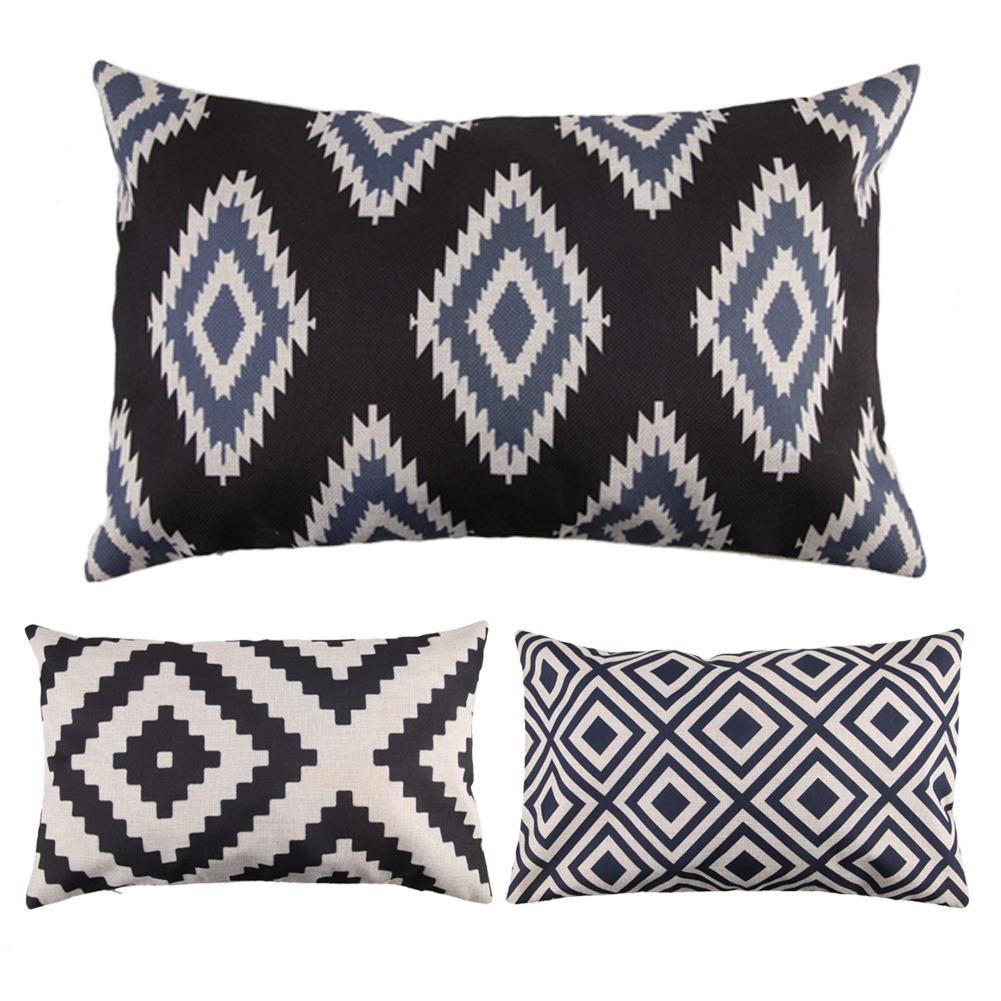 30cm* 50cm Fashion Geometric Style Decorative Throw Pillowcase Linen Cotton Cushion Covers for Sofa Home Decor(China (Mainland))