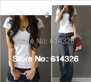 2015 New Fashion T-Shirts Elegant Summer V-neck Cotton T Shirt Women Plus Size Tops Women Clothing