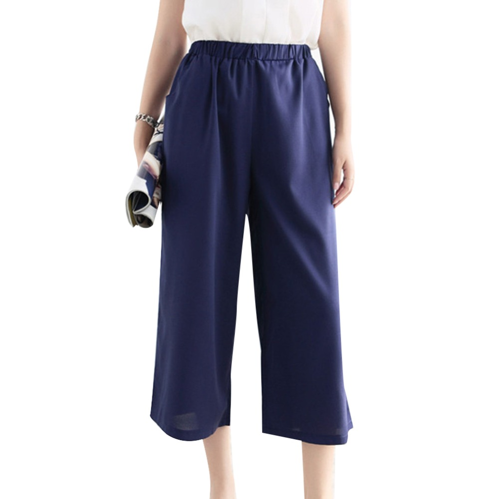 2016 New Fashion Office Ladies Style High Waist Chiffon Wide Leg Pants Slim Casual Ankle Length Pants Leisure Bottoms Big Size(China (Mainland))