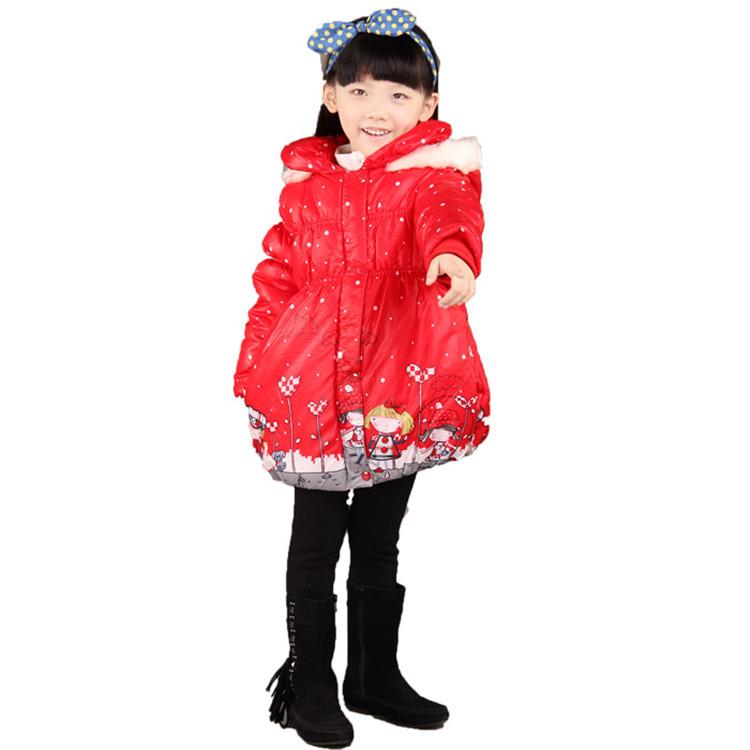2015 autumn and winter new styles kids hooded cotton coat baby girls fashion cartoon printing Cotton-padded jacket MI0052(China (Mainland))