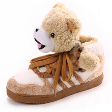 Warm Shoes 2016 Fashion Design Superstar Famous Men Women Casual Shoes Round Lace-up Plush Teddy Bear Panda Comfort Couple Shoes(China (Mainland))