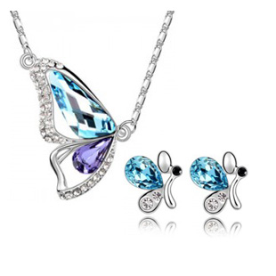 Wholesale 18K white gold plated Butterfly&Bee austria crystal women fashion earrings/necklace bride wedding Jewelry Sets(China (Mainland))