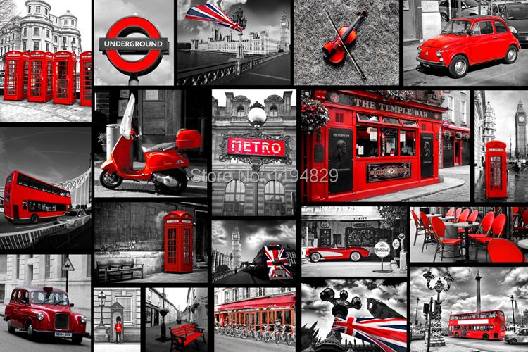 europe style vieille angleterre rouge bus et cabine t l phonique 3d papier peint tv salon papier. Black Bedroom Furniture Sets. Home Design Ideas