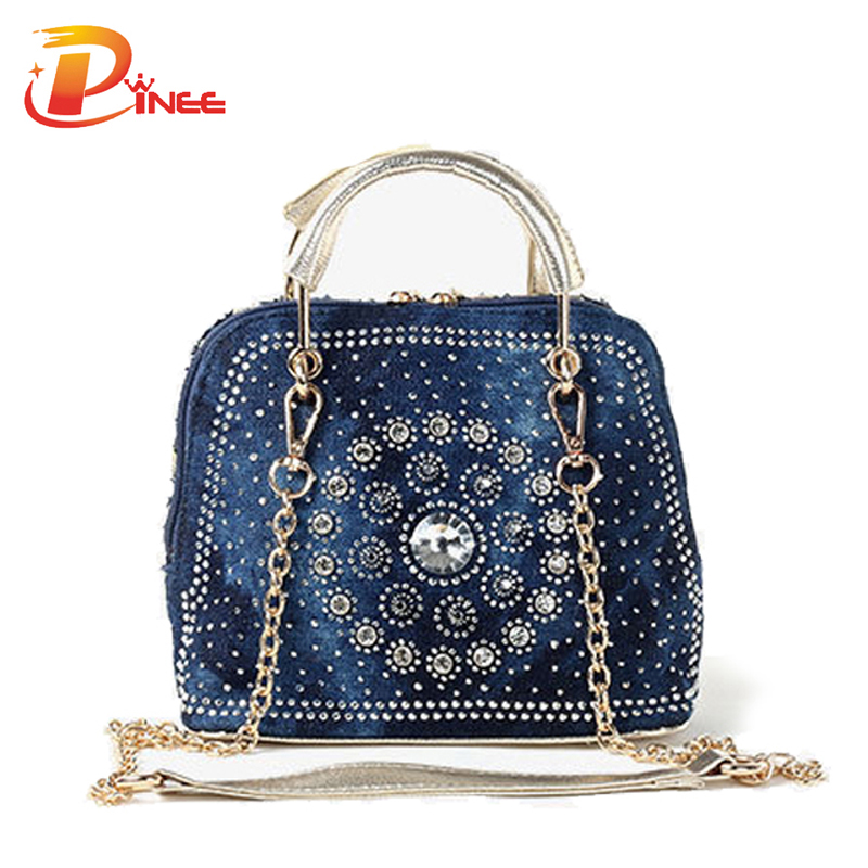 Bolsa Feminina Aliexpress : Woman denim handbags bags vintage rhinestone shoulder