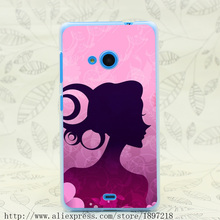 4971T Woman Silhouette By The Pink Flowers Hard Transparent Cover Case for Nokia 535 630 640 640XL 730