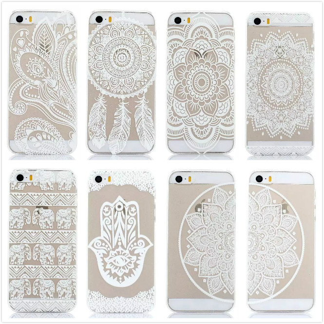 New Arrival Luxury Clear Plastic Phone Shell White Floral Paisley Flower Mandala Case Cover for iPhone