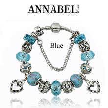 Heart Charm Bracelets & Bangles for Women Silver Zinc alloy European Beads fits Blue Crystal Bracelets DIY Jewelry B15107(China (Mainland))