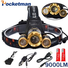 Buy Led Headlamp CREE T6 +2 CREE Q5 Headlight 9000LM LED Head Lamp Rechargeable Flashlight Light Torch Linterna 2*18650 Battery for $12.74 in AliExpress store