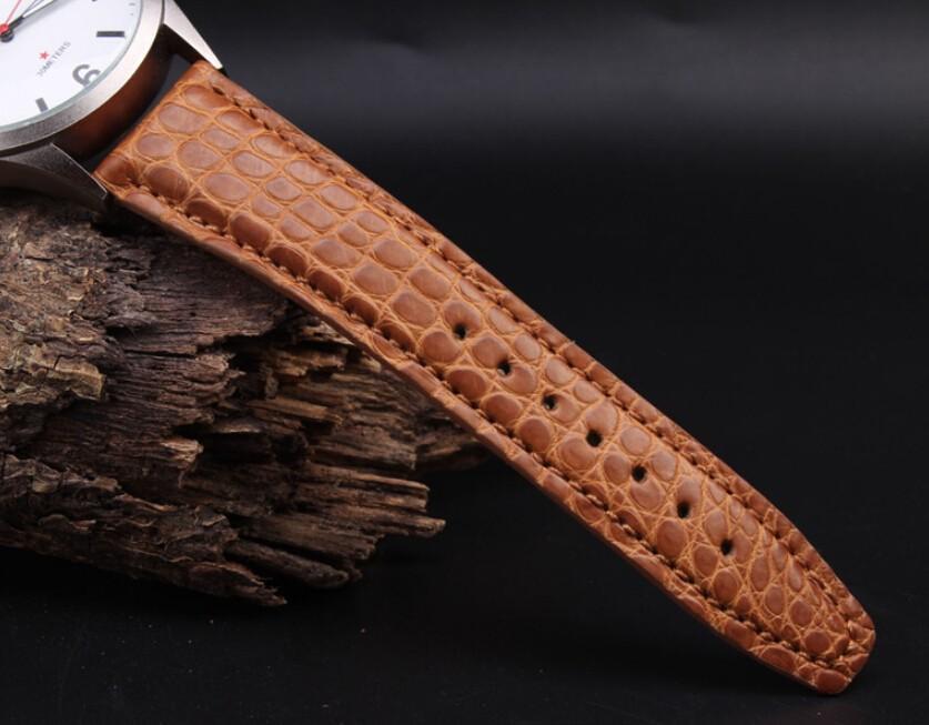 2014 Новый стиль 21 мм 22 мм ручной оранжевый натуральной кожи аллигатора ремешок матовый золото застежка из нержавеющей стали пряжки