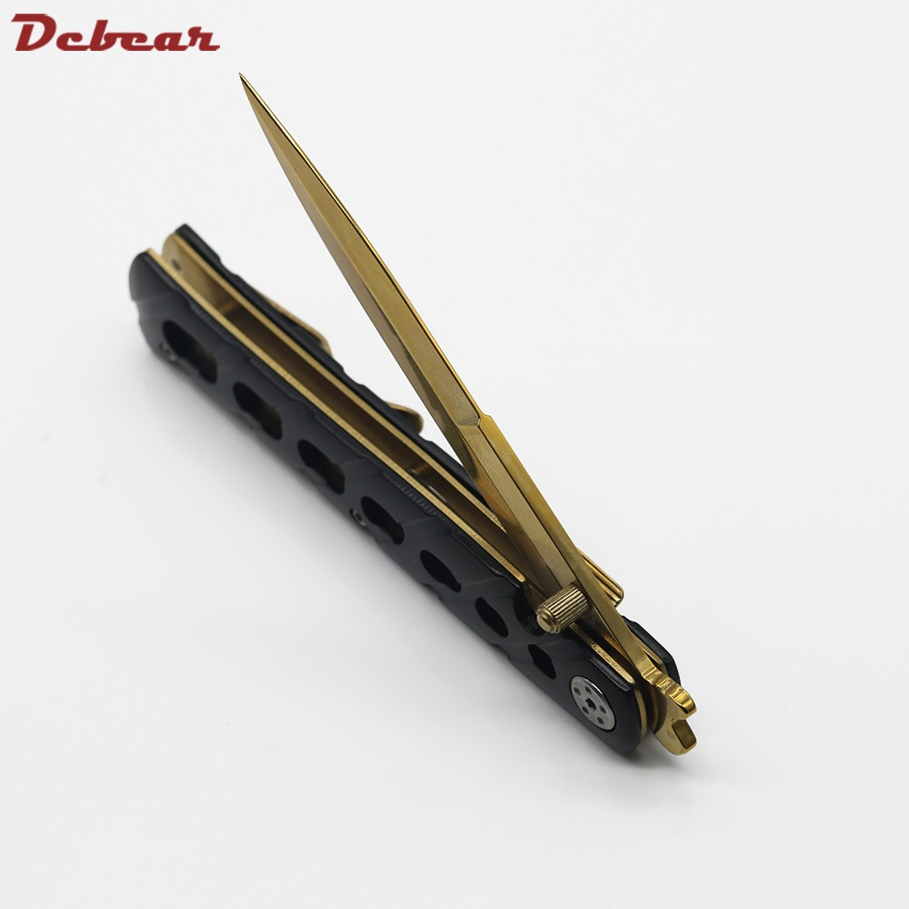 Buy Dcbear High Performance Tactical Camping Folding Knives With 5CR15 Blade Steel Handle Knife Survival Hunting Tools EDC cheap