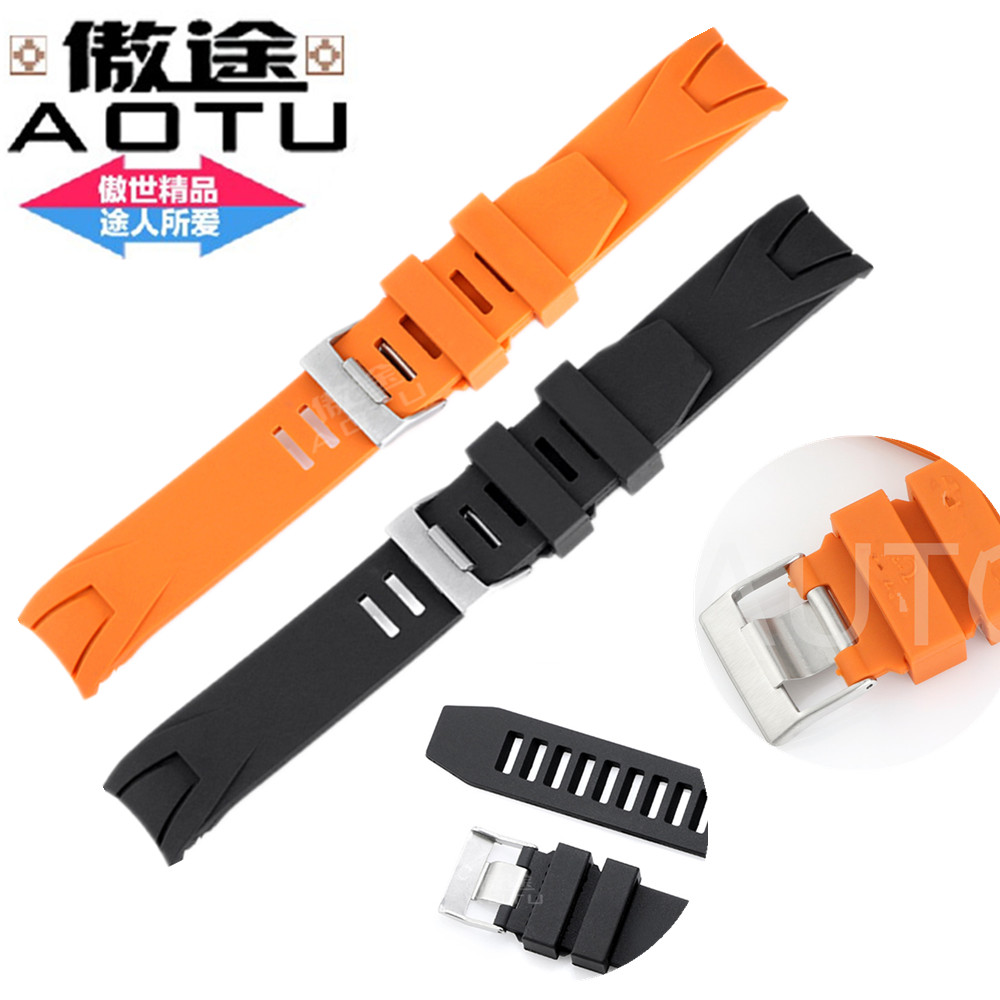 AOTU 20mm New Top Grade Silicone Rubber Strap Folding Clasp Orange Black Waterproof Diving Watchband for Omega + Free Tools(China (Mainland))