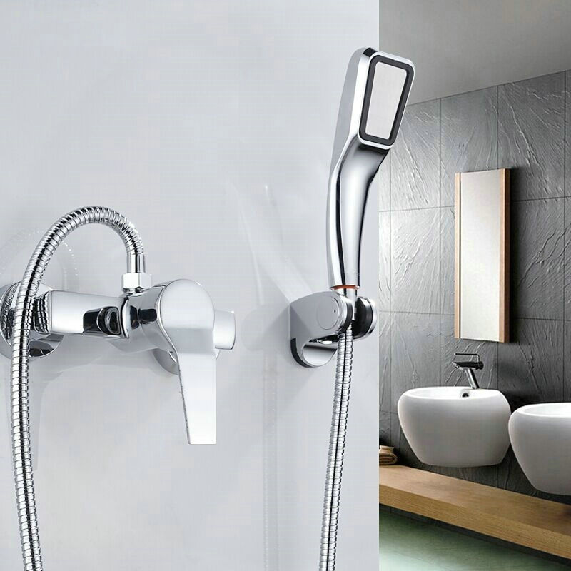 Three holes Wall Mounted Bathroom Faucet Bath Tub Mixer Tap With Hand  Three Piece Bathroom Fauc   Befon. Three Piece Bathroom Faucet. Home Design Ideas