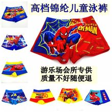 Hot retail wholesale 2015 new summer style children wear Swim trunks cartoon spiderman superman pattern kids