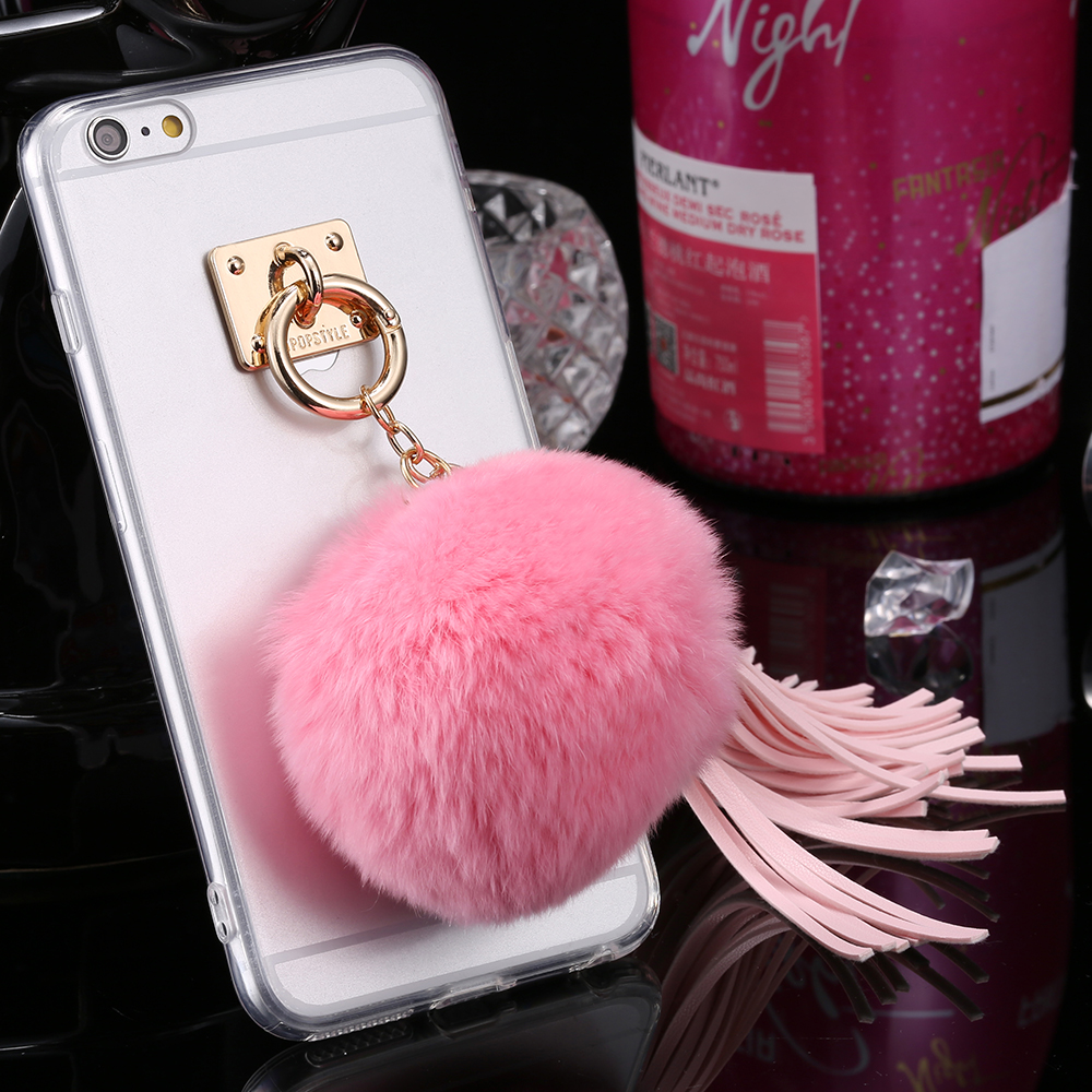10pcs/lot Gentle Rabbit Hair Metal Kickstand Slim Case for Apple iPhone 6/ 6s 4.7'' / Plus 5.5'' Clear Soft TPU Protective Cover(China (Mainland))