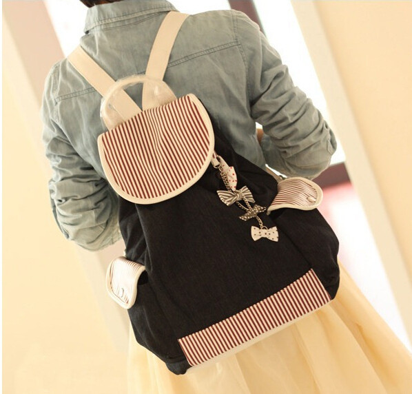 10pcs lot fedex fast Canvas Backpack School Bag Super Cute Bow Stripe School College Bag for