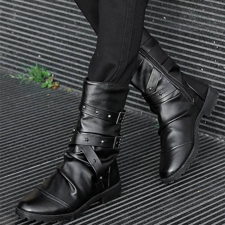 2015 hot new knee-high cotton boots fashion high fashion martinshoes for man, black male martin boots(China (Mainland))
