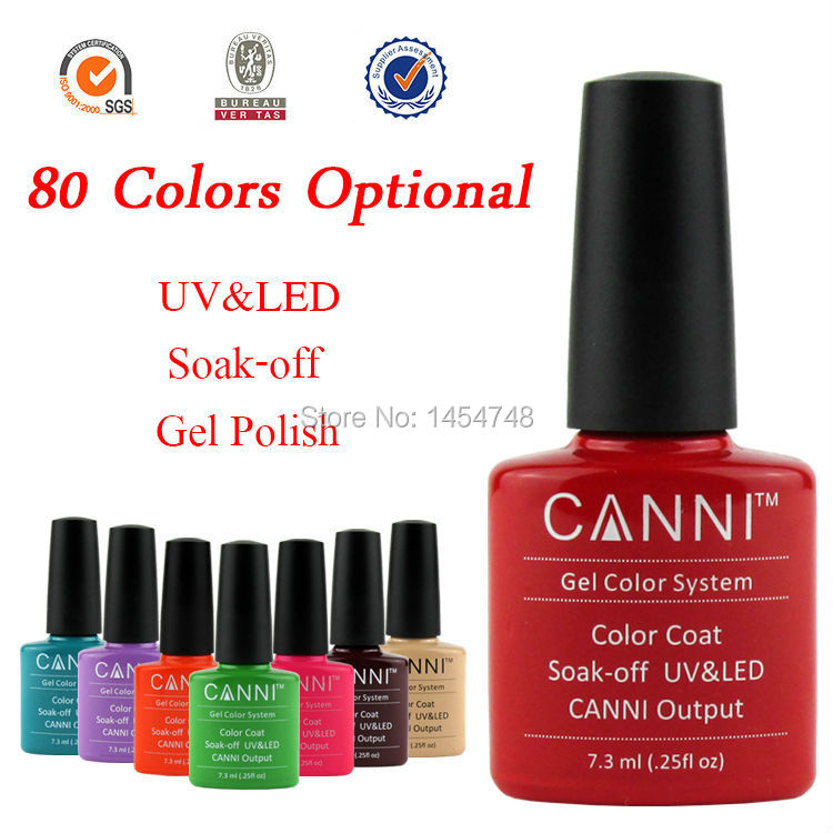 Popular ! 1Pcs CANNI UV/LED Soak Off Nail UV Gel Polish Varnishes Lacquer Color Coat (You Choose Colors)(China (Mainland))
