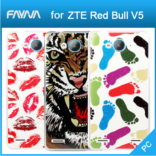 Free Shipping ZTE Red Bull V5 Case, Sculpture Texture Painting Series Hard PC Slim Back Cover Case for ZTE V5(China (Mainland))
