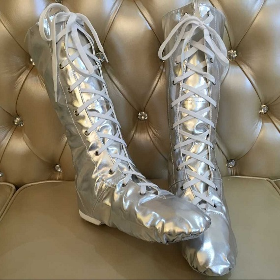 2015 NEW adult child silver leather high dance shoes jazz boots dance boots silver boots high dancing shoes(China (Mainland))
