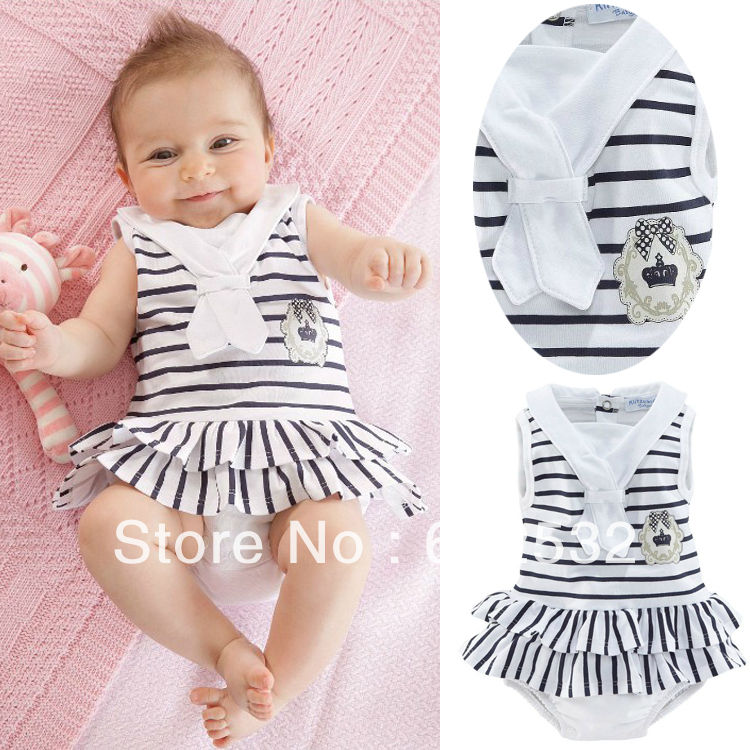 2014 Summer Fashion Navy Style Striped Pattern Baby Girls COTTON infant Romper Jumpsuit 5 pieces lot XTW1041