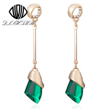 2016 Brand Bride Earings Fashion Jewelry Green Austrian Crystal Earrings 18k Gold Plated brincos Long Earrings For Women(China (Mainland))