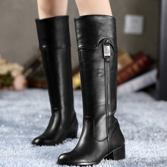 free shipping Fashion Genuine Leather Women Knee-high boots equestrian warm fur female ladies Riding boots plus size 30-45 <br><br>Aliexpress