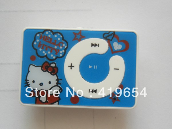 Lighting Delivery Hello Kitty Clip MP3 Player With TF MicroSD Card Slot 50PCS DHL EMS Free Shipping(China (Mainland))