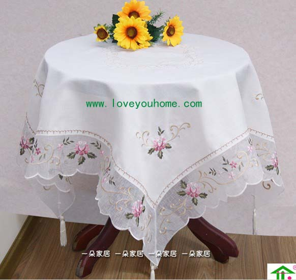 Embroidery table linen,country living lavender tablecloths, Top grate table cover,buy it now,90x90cm,low price(China (Mainland))