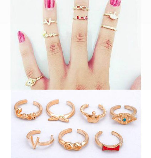 Punk Promotion Gold Color Skull Bowknot Heart Nail Simple Band Mid Finger Top Rings Set for Women 7pc/set YR252(China (Mainland))