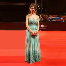Sexy Sky Blue Sheer Mermaid Flowers Beaded Lace Celebrity Dresses 2017 Golden Global Academy Awards Oscar Red Carpet Dress EE28(China (Mainland))