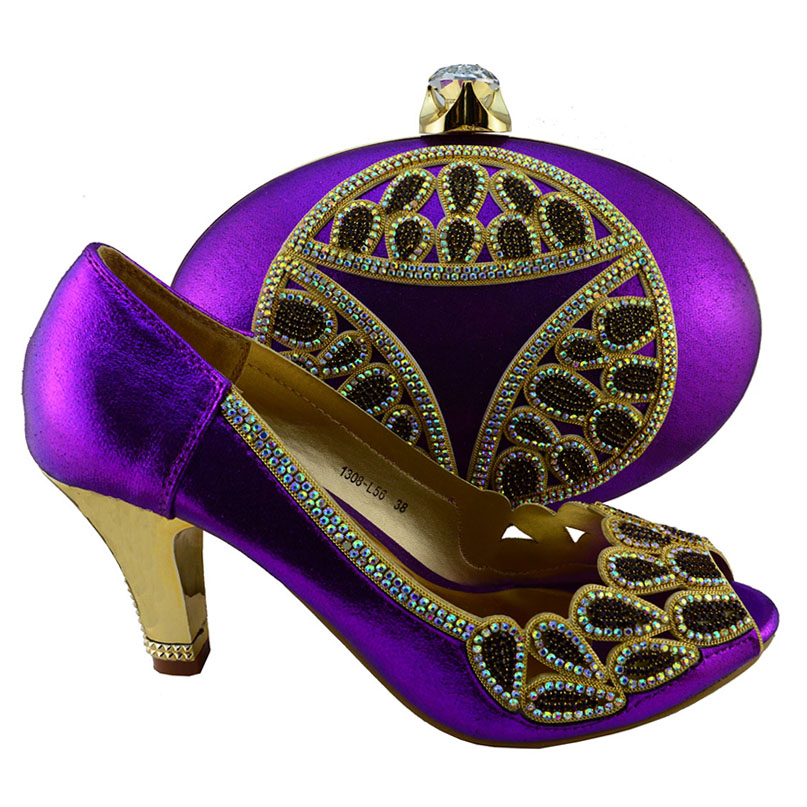 1308-L56 Wholesale and retail 2016 new style African woman matching italian shoe and bag set for wedding and party ! purple<br><br>Aliexpress
