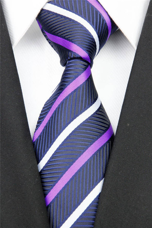 NT0135 Man's Purple Navy Striped Classic Silk Polyester Smooth Jacquard Woven Tie Business Wedding Party Luxury Casual Necktie - askformore store