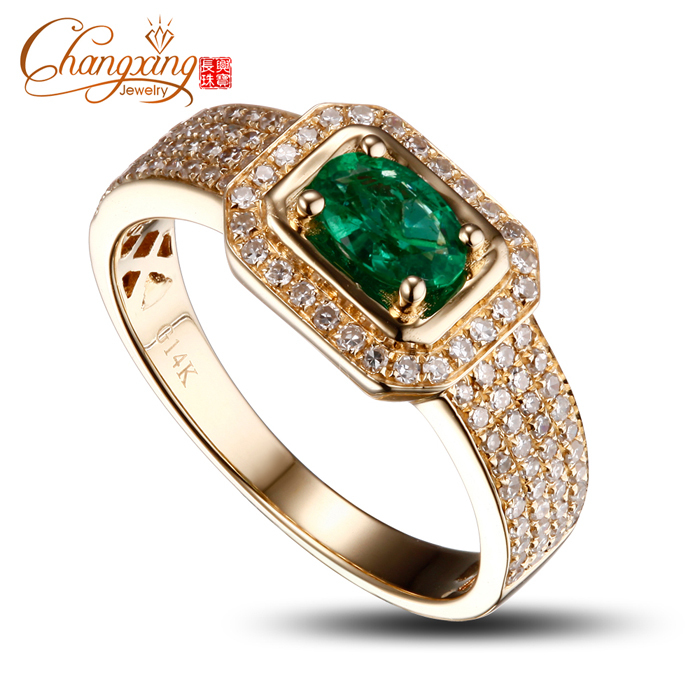 Aliexpress Buy 14k Yellow Gold Natural Colombian Emerald Diamond Mens R
