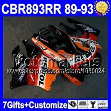 7gifts HONDA Repsol orange CBR900RR 89-93 CBR893RR 89 90 91 93 6D43 92 1992 red black CBR 893RR 1989 1990 1991 1993 Fairing - Motomarkets store